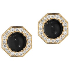 Goshwara Onyx Cabochon And Diamond Stud Earrings