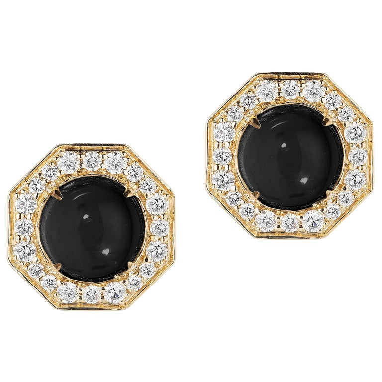 Goshwara Onyx Cabochon And Diamond Stud Earrings For Sale