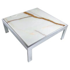 Onyx & Chrome Coffee Table by Leon Rosen for Pace