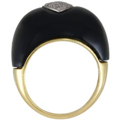 Onyx Cocktail Ring with Diamonds