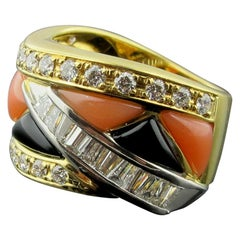 Onyx, Coral and Diamond Ring in 18 Karat Yellow Gold