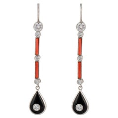 Onyx Coral Platinum Dangle Earrings