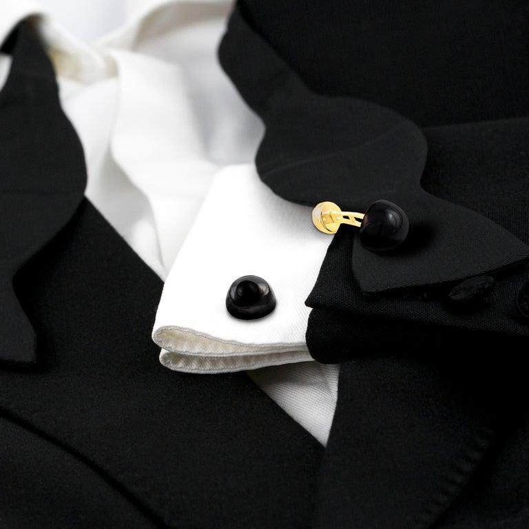 Men's Onyx Cufflinks, Black Onyx and 18 Karat Gold For Sale