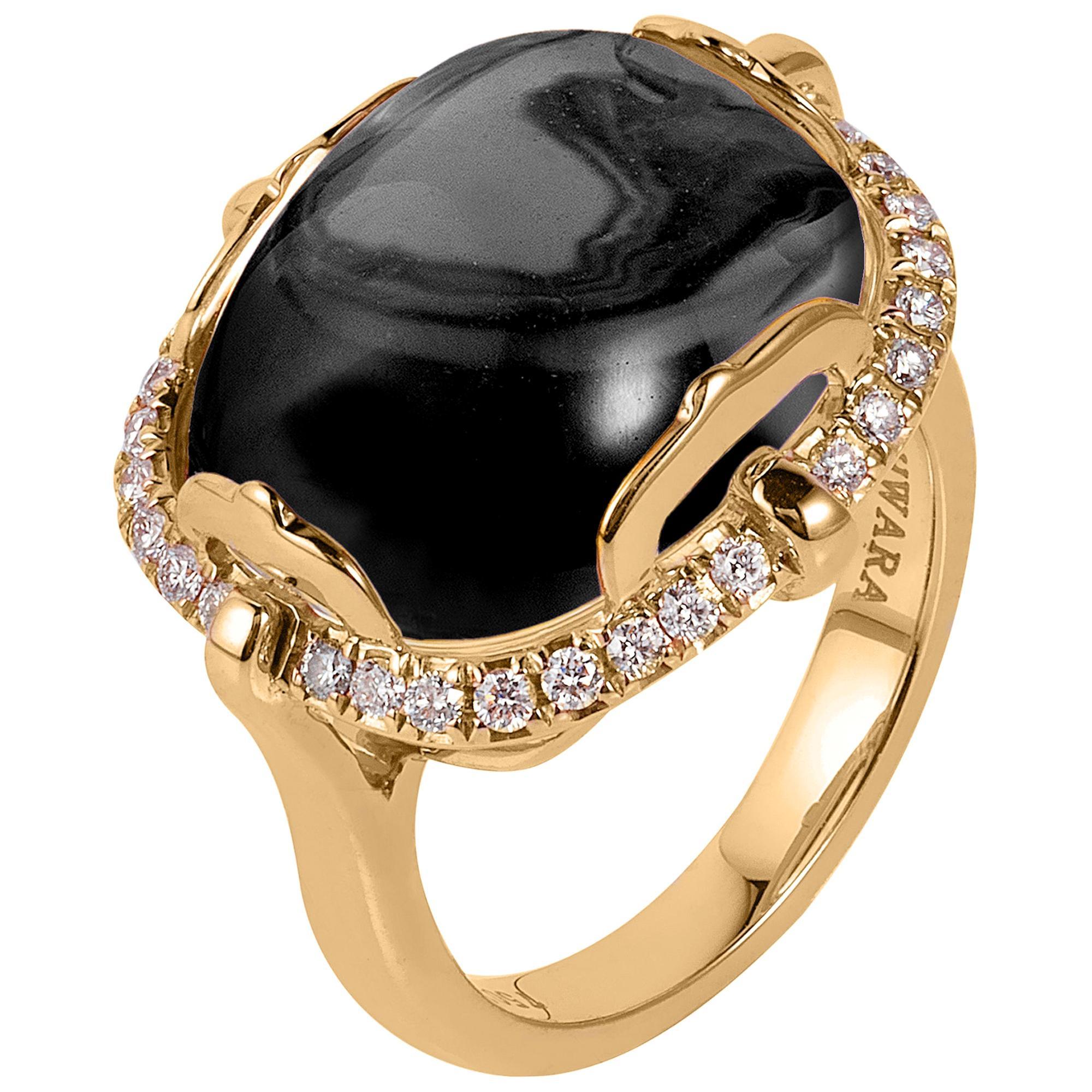 Goshwara Cushion Cabochon Onyx And Diamond Ring