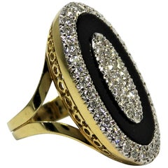 Onyx, Diamond and Gold Oval Shaped Ring