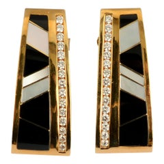 Onyx Diamond and Mother of Pearl Earrings