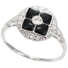 Onyx Diamond Art Deco Style 18 Carat White Gold Dress Ring