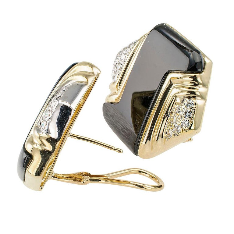 Onyx Diamant Ohrringe Gold 2