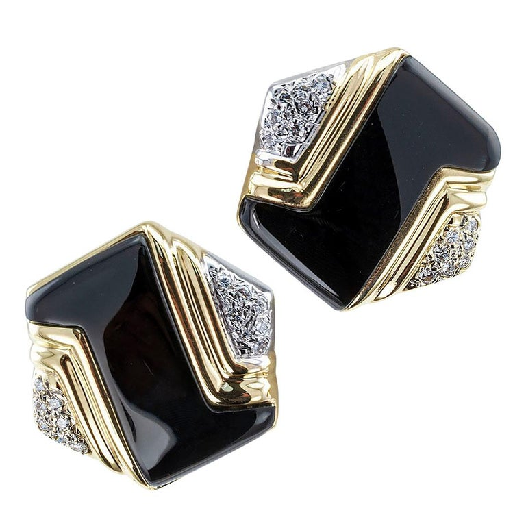 Onyx Diamant Ohrringe Gold 1
