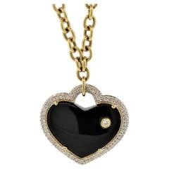 Onyx Diamond Gold Heart Drop Necklace