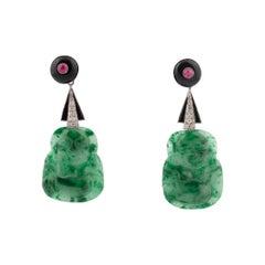 Onyx Diamond Ruby and Carved Buddha Jade Earrings