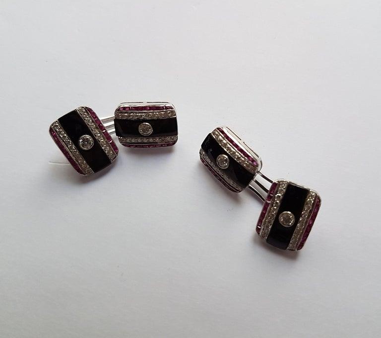 Onyx Diamond Ruby Cufflinks, Early 20th Century For Sale 4