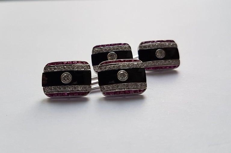 Art Deco Onyx Diamond Ruby Cufflinks, Early 20th Century For Sale