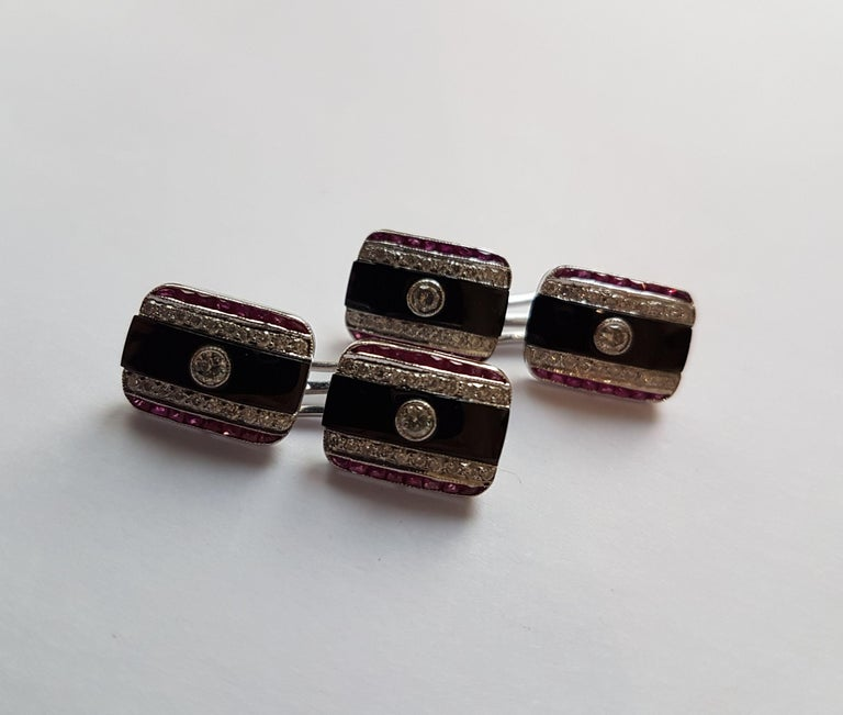 Onyx Diamond Ruby Cufflinks, Early 20th Century For Sale 3
