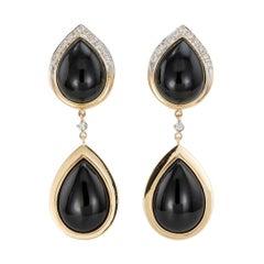 Onyx Diamond Yellow Gold Clip On Drop Earrings