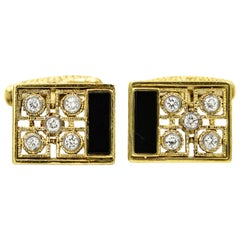 Onyx Diamond Yellow Gold Rectangular Cufflinks and Tie Tac Set