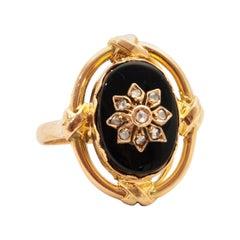 Diamond and Onyx 14 Karat Yellow Gold Ring