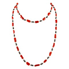 Onyx, Diamonds, White Gold, Red Corals, Long Multi-Strand Necklace