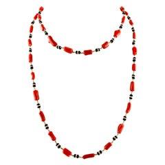 Onyx, Diamonds, White Gold, Red Stones, Long Multi-Strand Necklace
