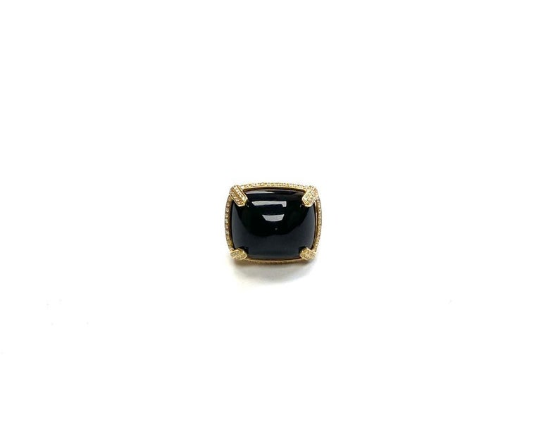 Goshwara Onyx Cabochon And Diamond Ring In New Condition For Sale In New York, NY