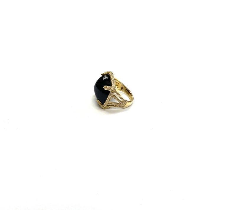Goshwara Onyx Cabochon And Diamond Ring For Sale 1