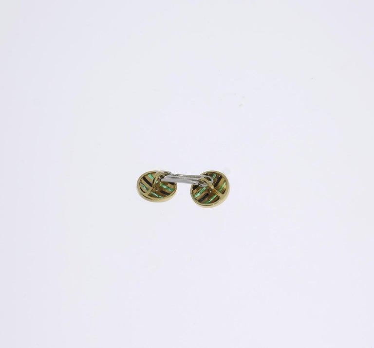 Art Deco Onyx Emerald Diamond Gold Cufflinks For Sale