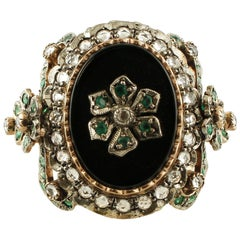 Onyx, Emeralds, White Topazes, 9 Karat Rose Gold and Silver Retro Ring