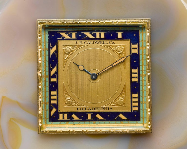 Art Deco Onyx and Enamel Desk Clock by J.E. Caldwell For Sale