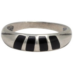 Onyx Inlay Sterling Silver Vintage Ring, 20th Century