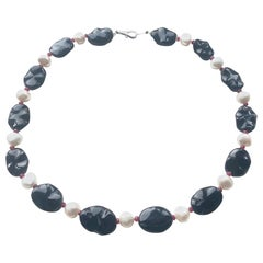 Onyx, Keshi Pearl and Faceted Ruby Necklace with 18k White Gold Lobster Clasp
