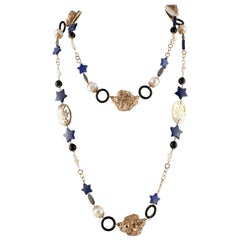 Onyx Lapis Pearls Mother-of-Pearl Rose Gold and Silver Necklace
