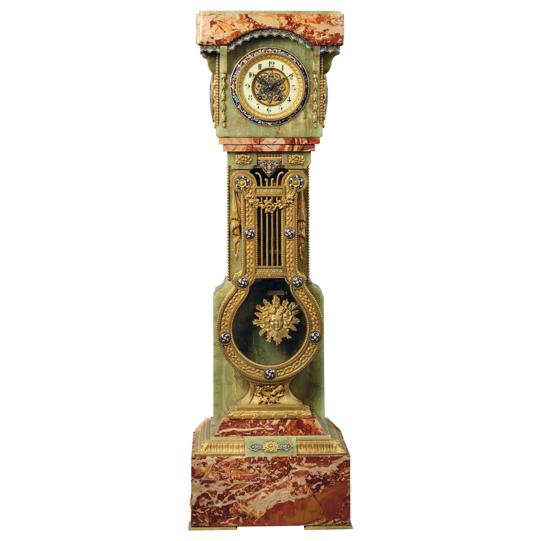 Onyx, Marble and Champlevé Enamel Pedestal Clock