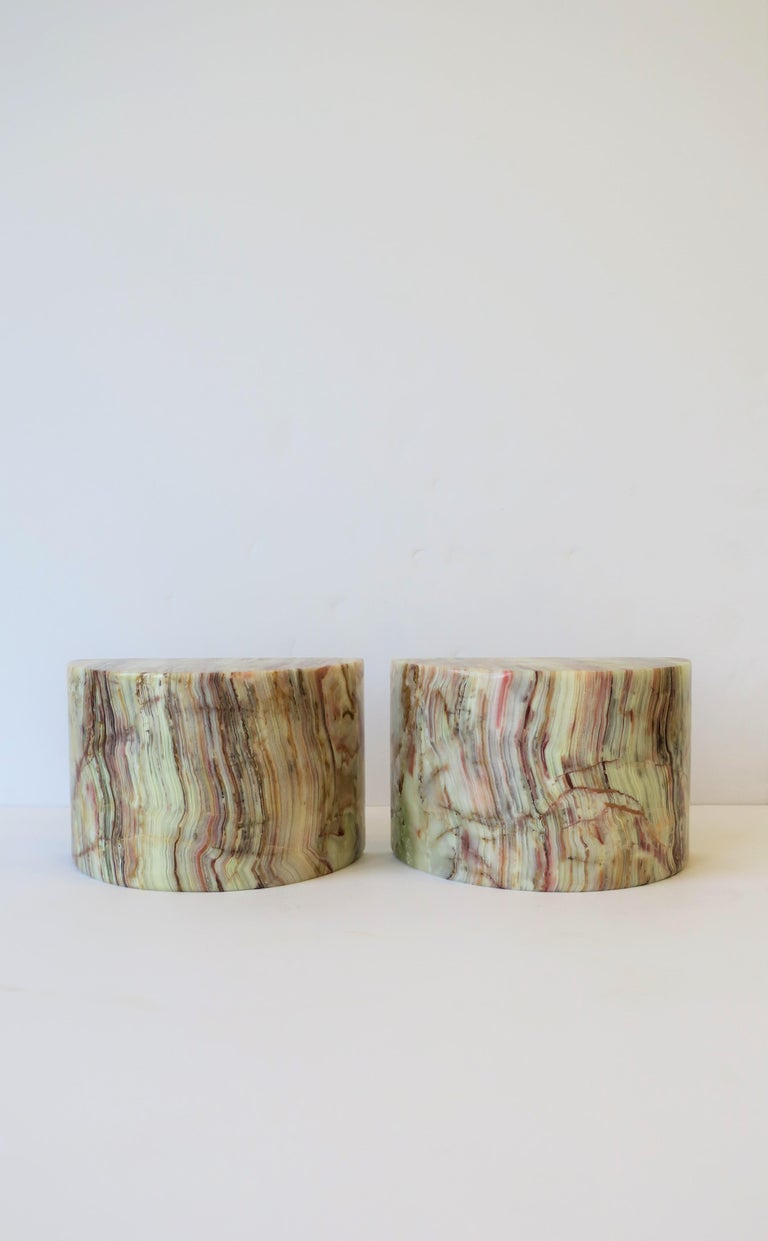 European Onyx Marble Bookends For Sale