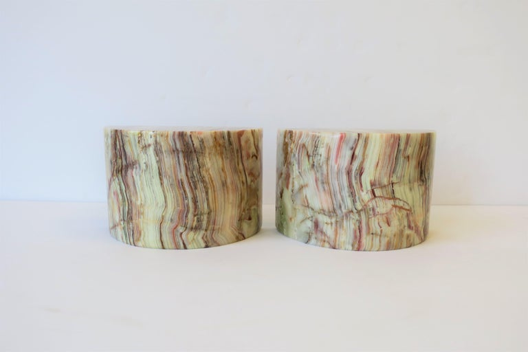 Polished Onyx Marble Bookends For Sale