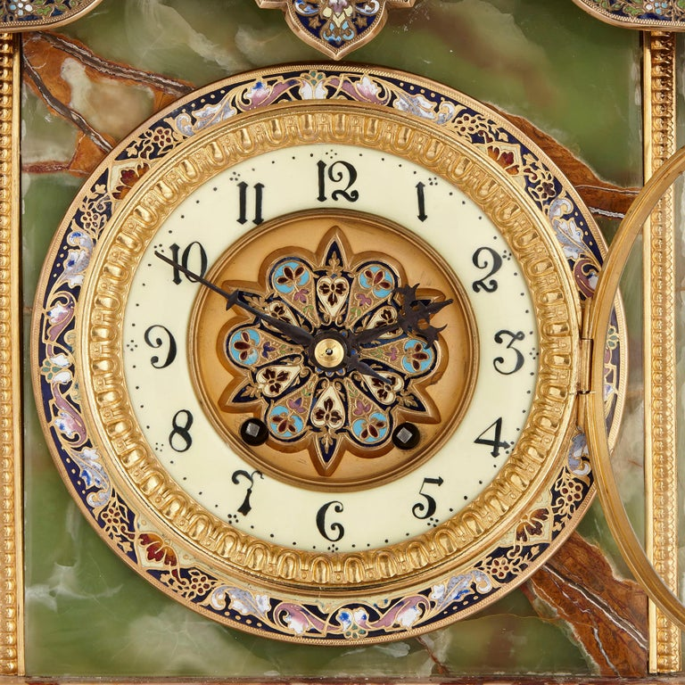 Neoclassical Onyx, Marble, Gilt Bronze and Champlevé Enamel Pedestal Clock For Sale