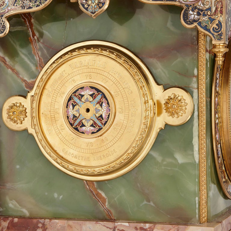 French Onyx, Marble, Gilt Bronze and Champlevé Enamel Pedestal Clock For Sale