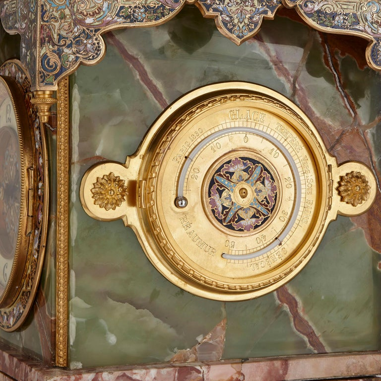 Onyx, Marble, Gilt Bronze and Champlevé Enamel Pedestal Clock In Good Condition For Sale In London, GB