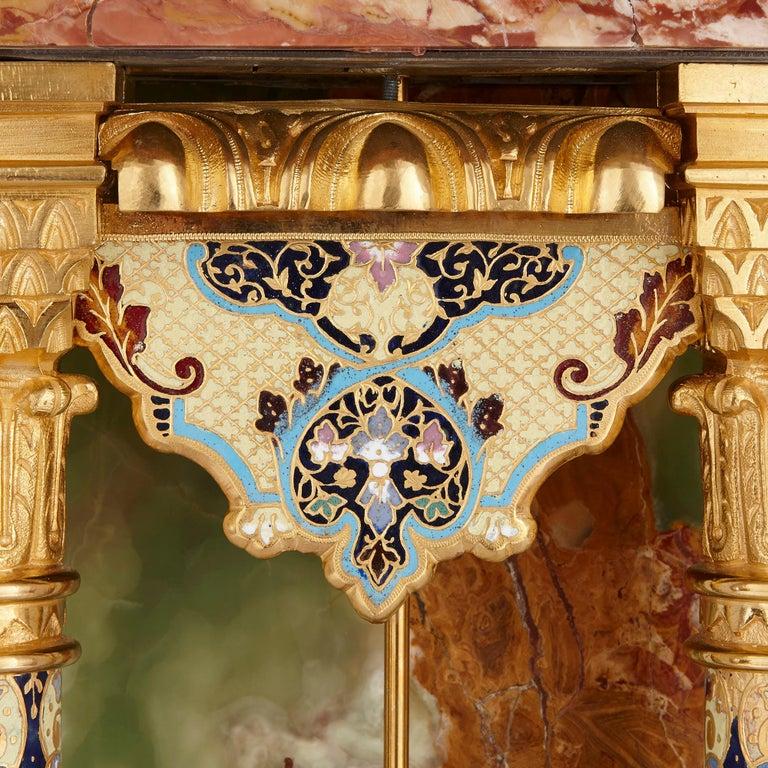 19th Century Onyx, Marble, Gilt Bronze and Champlevé Enamel Pedestal Clock For Sale
