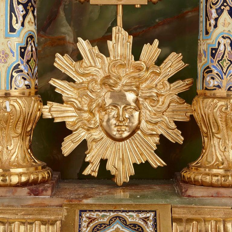 Onyx, Marble, Gilt Bronze and Champlevé Enamel Pedestal Clock For Sale 2