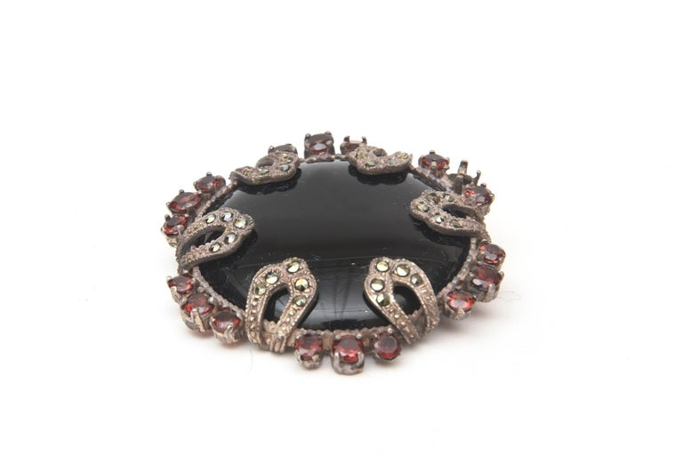 Onyx, Marquisette, Garnet and Sterling Silver Art Deco Pin Brooch In Fair Condition For Sale In North Miami, FL