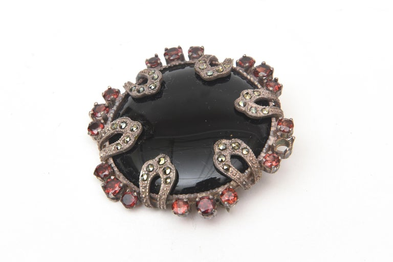 Women's Onyx, Marquisette, Garnet and Sterling Silver Art Deco Pin Brooch For Sale