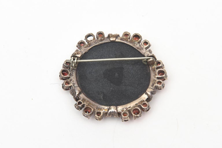 Onyx, Marquisette, Garnet and Sterling Silver Art Deco Pin Brooch For Sale 1