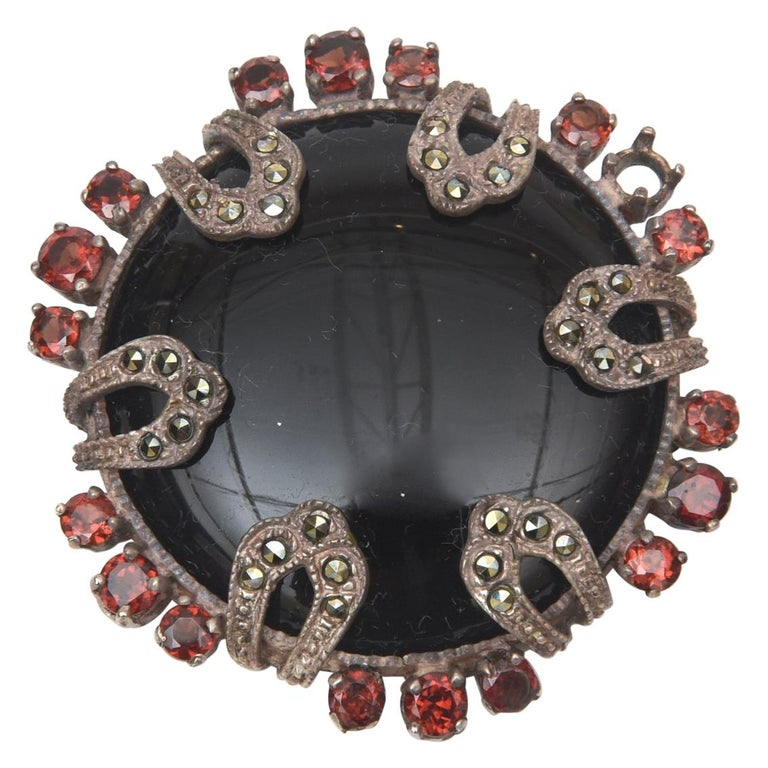 Onyx, Marquisette, Garnet and Sterling Silver Art Deco Pin Brooch For Sale