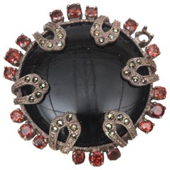 Onyx, Marquisette, Garnet and Sterling Silver Art Deco Pin Brooch