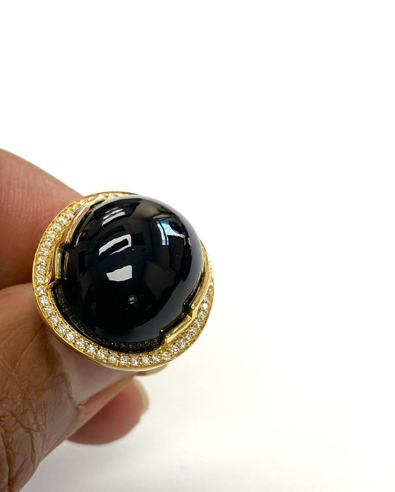 Contemporary Goshwara Oval Onyx Cabochon And Diamond Ring For Sale