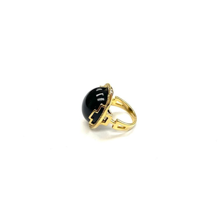 Oval Cut Goshwara Oval Onyx Cabochon And Diamond Ring For Sale