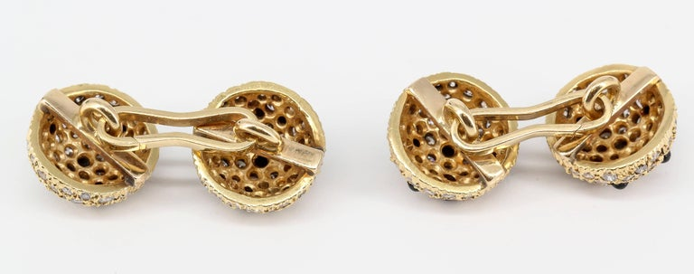 Men's Onyx, Pave Diamond and Yellow Gold Round Dome Cufflinks For Sale