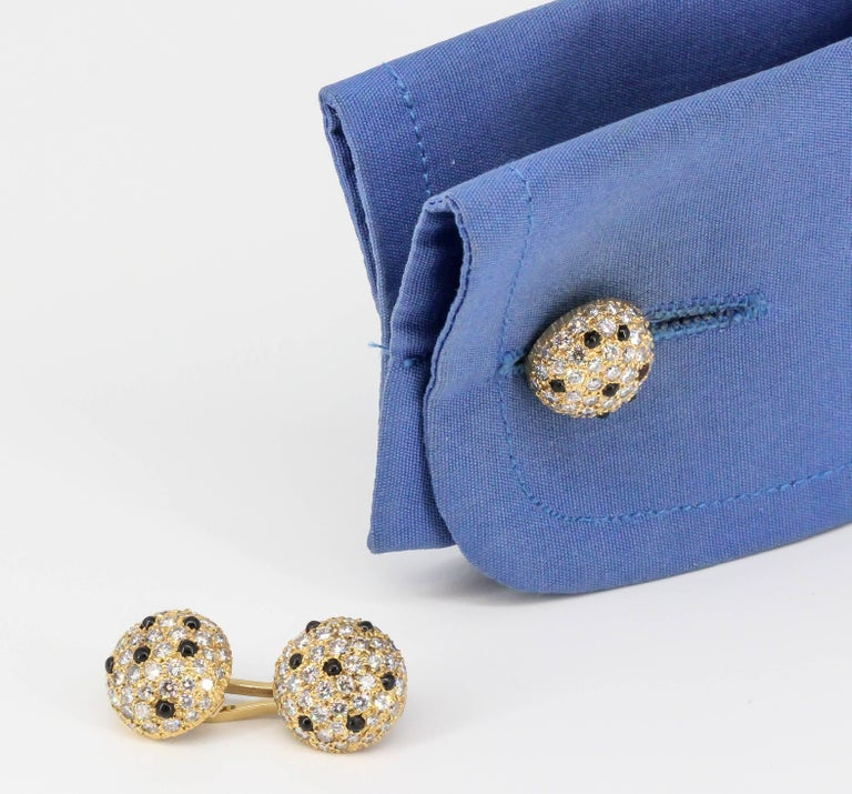 Onyx, Pave Diamond and Yellow Gold Round Dome Cufflinks For Sale 2