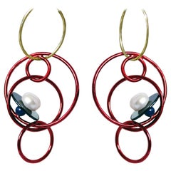 Onyx, Pearl and Red Nano Ceramic Coated Solid Sterling Silver Earrings