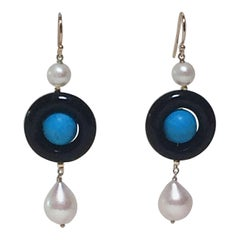 Marina J Onyx, Pearl, and Turquoise Dangle Earrings with 14 K Yellow Gold
